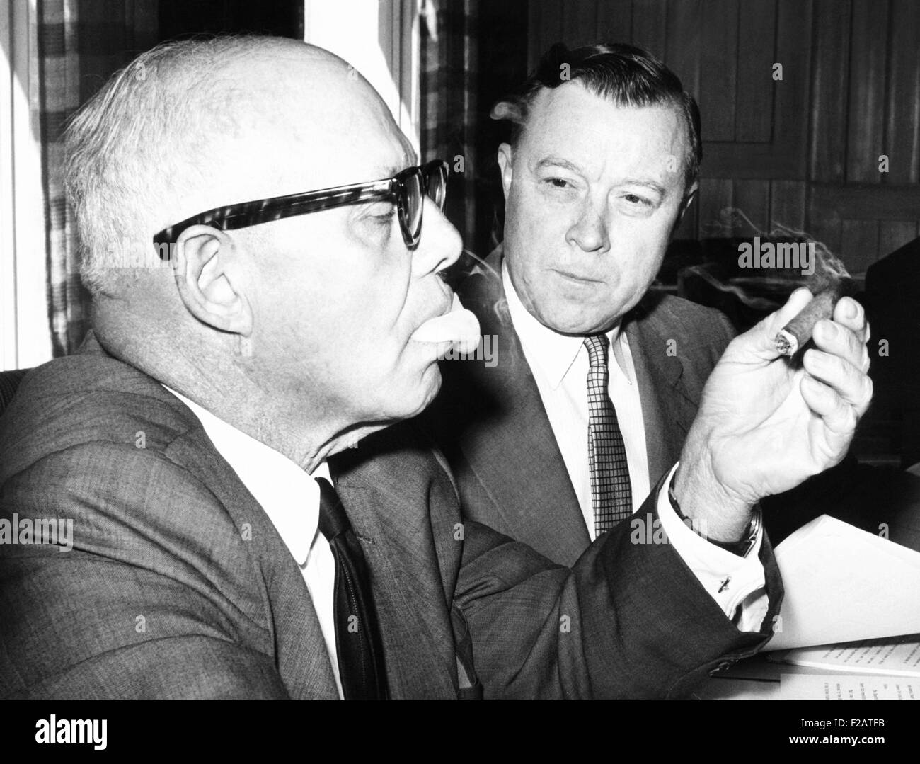 AFL-CIO leaders, George Meany, and Walter Reuther endorsed John Kennedy for President. Aug. 26, 1960 (CSU_2015_11 - Stock Image
