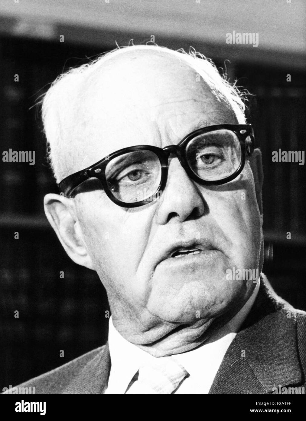 AFL-CIO president George Meany before the Senate Appropriations Committee. March 10, 1971. Meany wanted the U.S. - Stock Image