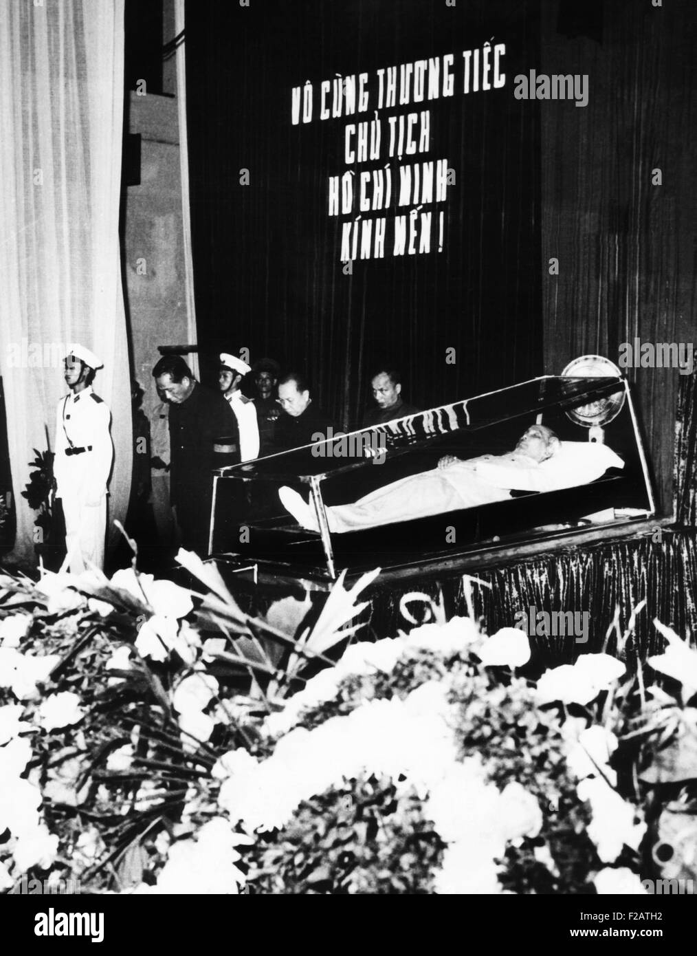 Body of President Ho Chi Minh during a state funeral in Hanoi. Sept. 26, 1969. North Vietnamese leaders are at left. - Stock Image