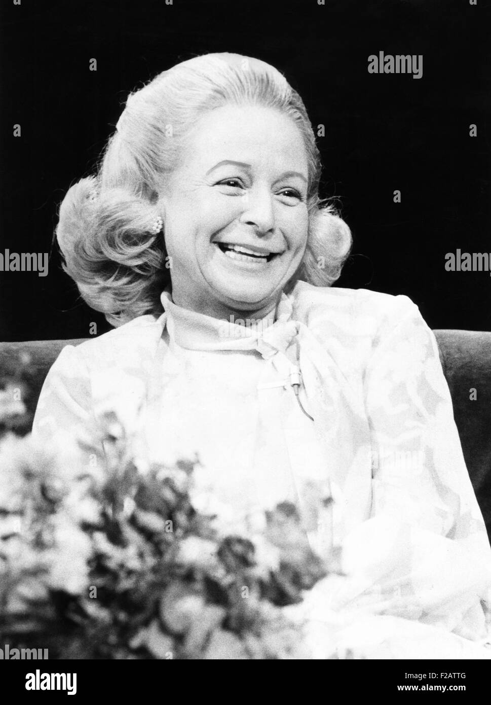 Martha Mitchell as she appeared on Tom Snyder's NBC TV's TOMORROW show. May 1, 1974. Always quotably indiscreet, - Stock Image