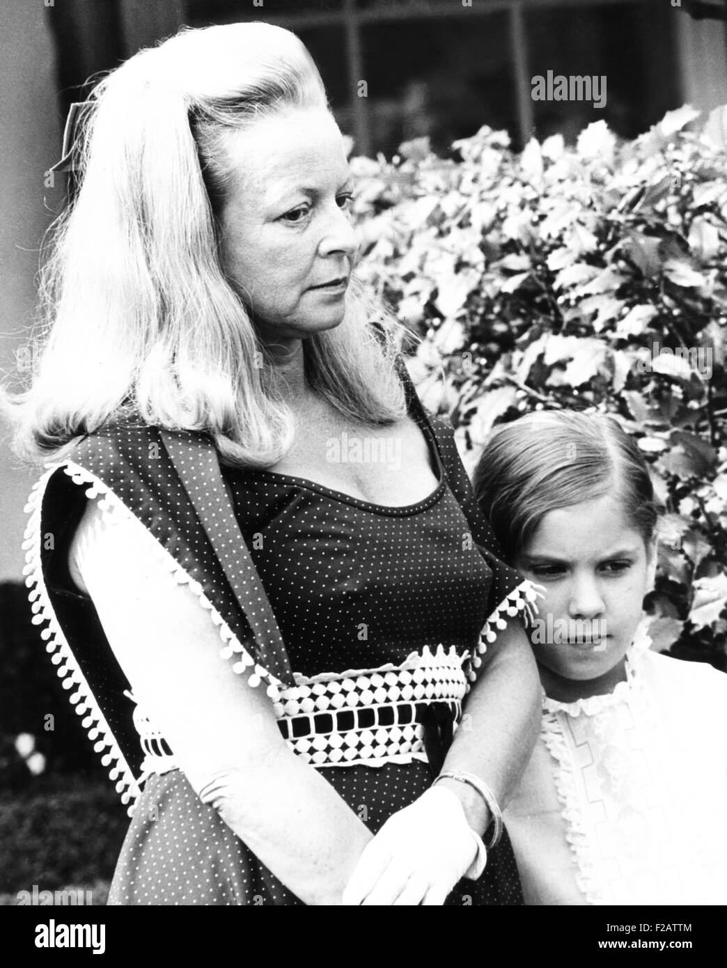 Martha Mitchell wife, eccentric wife of Atty. Gen. John Mitchell with their daughter Marty. June 1970, Houston, - Stock Image