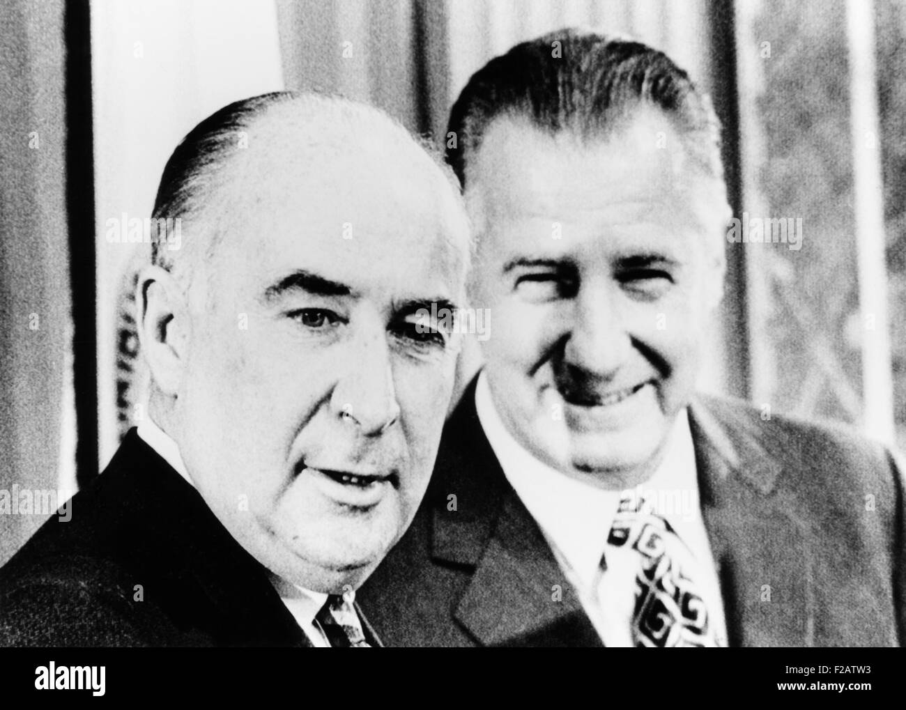 Atty. Gen. John Mitchell (left) and VP Spiro Agnew announced program fight street crime and burglary. Jan. 13, 1972. - Stock Image