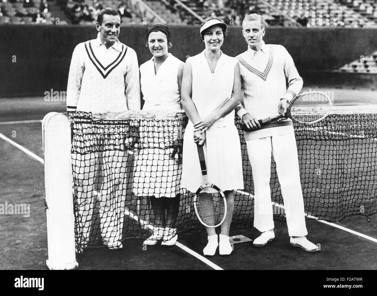 Fred Perry and Betty Nuthall (left) of Britain won the French Mixed Doubles Championship. June 7, 1932. They defeated - Stock Image