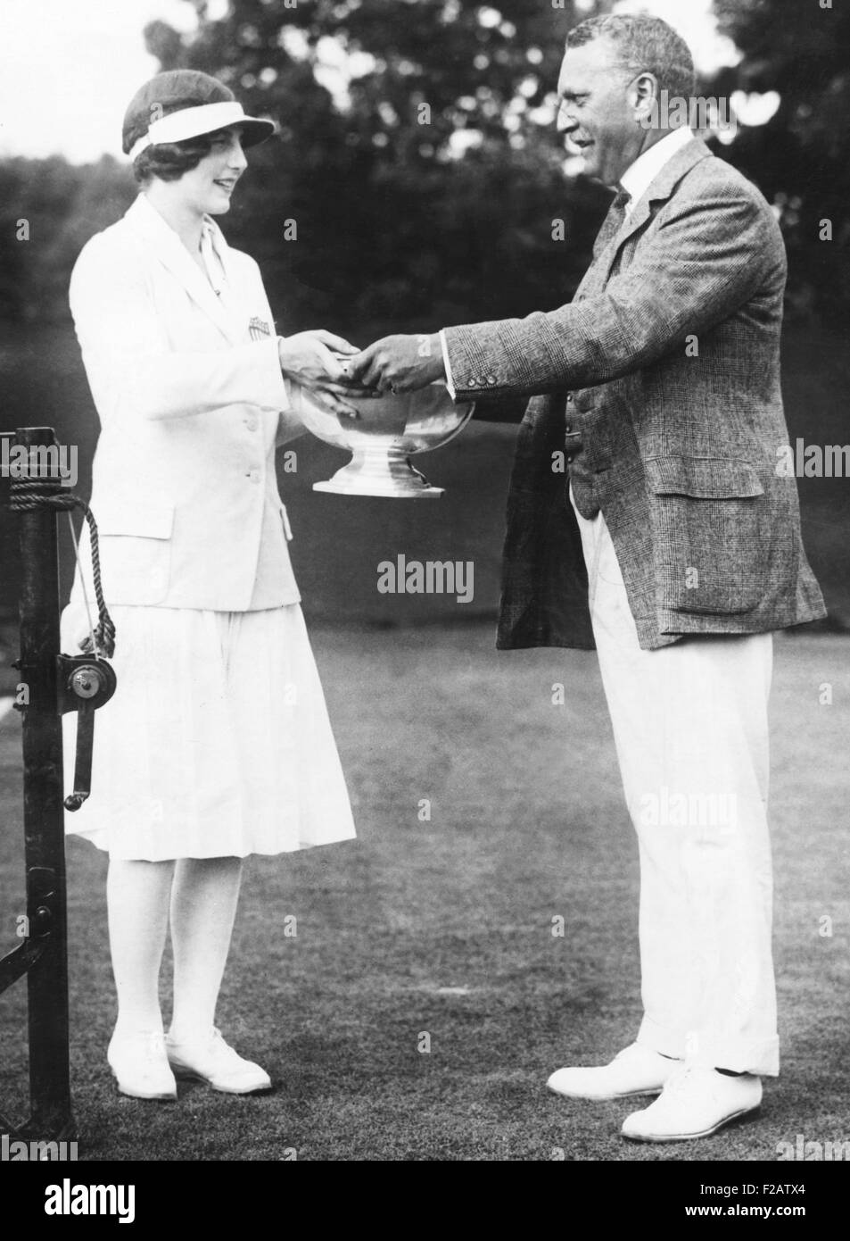 Helen Wills, tennis champion from California receiving trophy. Ca. 1925. (CSU_2015_11_1569) - Stock Image