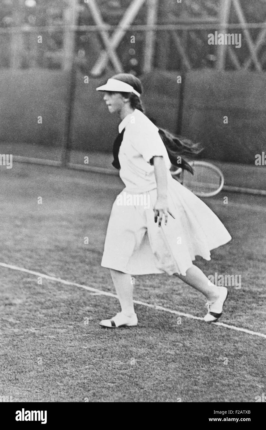 Helen Wills, woman champion tennis player ca. 1921. She is playing in the new knee-length pleated skirts. (CSU_2015 - Stock Image