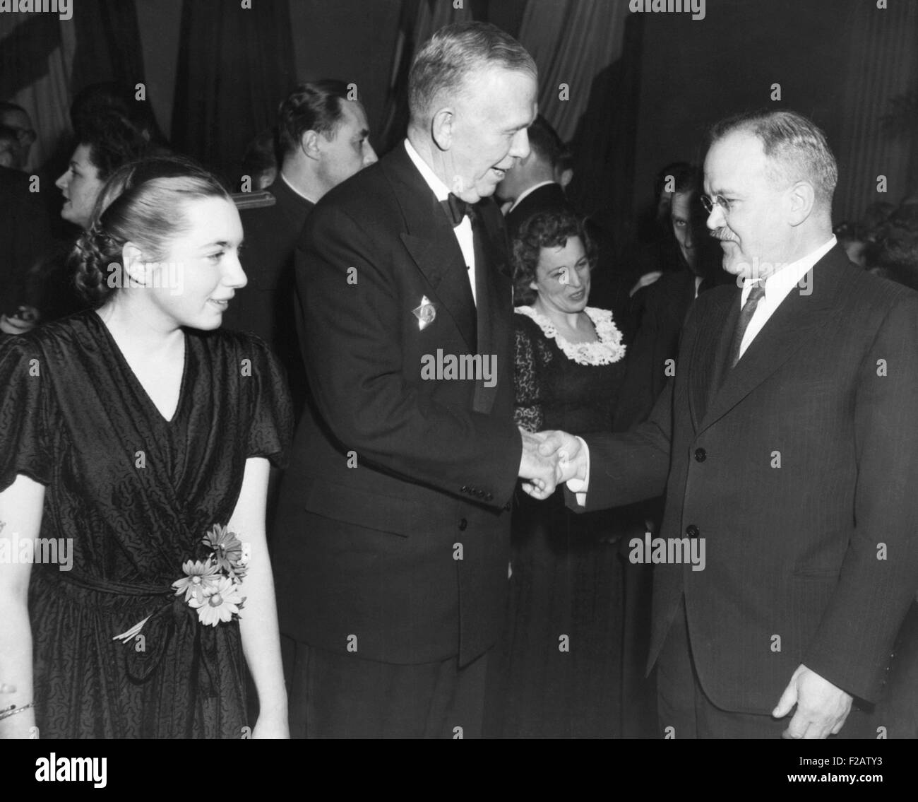 U.S. Sec. of State George Marshall (center), greets Soviet Foreign Minister Molotov. They were attending the Big - Stock Image