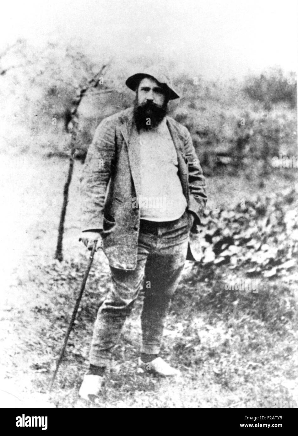 Claude Monet, at age 49, in his garden at Giverny, France 1890. Photo by Theodore Robinson. (CSU_2015_11_1547) - Stock Image