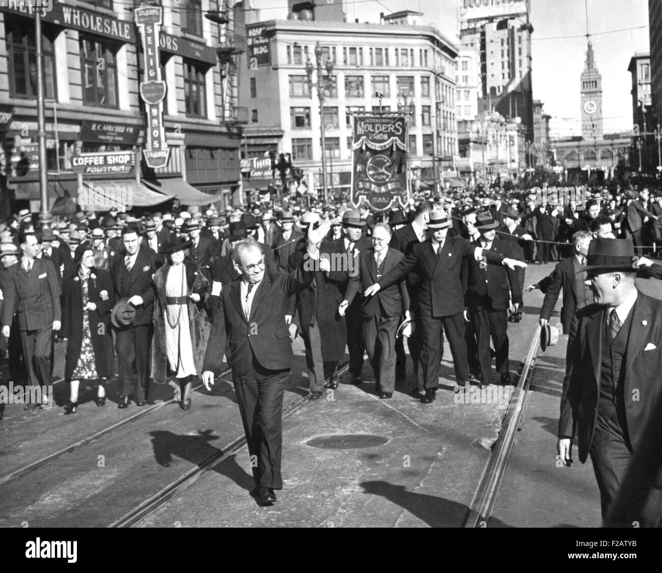 Tom Mooney, followed by 40,000 Unionists on Market St., San Francisco, Jan. 8, 1939. From extreme left is Harry - Stock Image