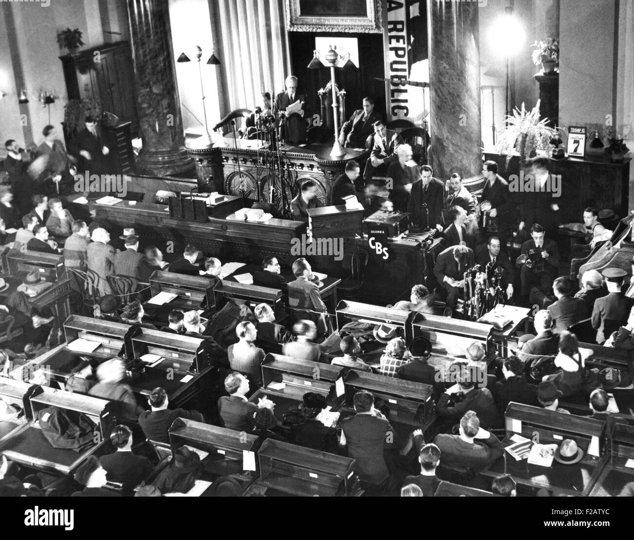 Governor Culbert Olson pardoned Tom Mooney, the Preparedness Day Bombing prisoner. Jan. 7, 1939. Scene in the State - Stock Image