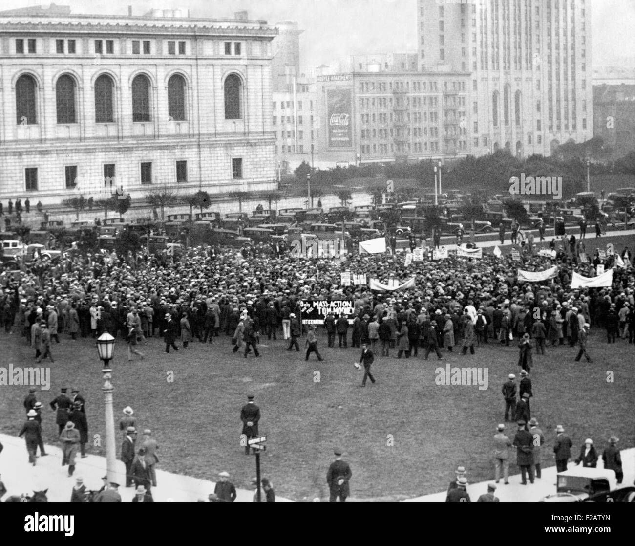 Communists held a demonstration for Thomas Mooney's release in San Francisco. Dec. 1, 1931. Mooney's conviction - Stock Image