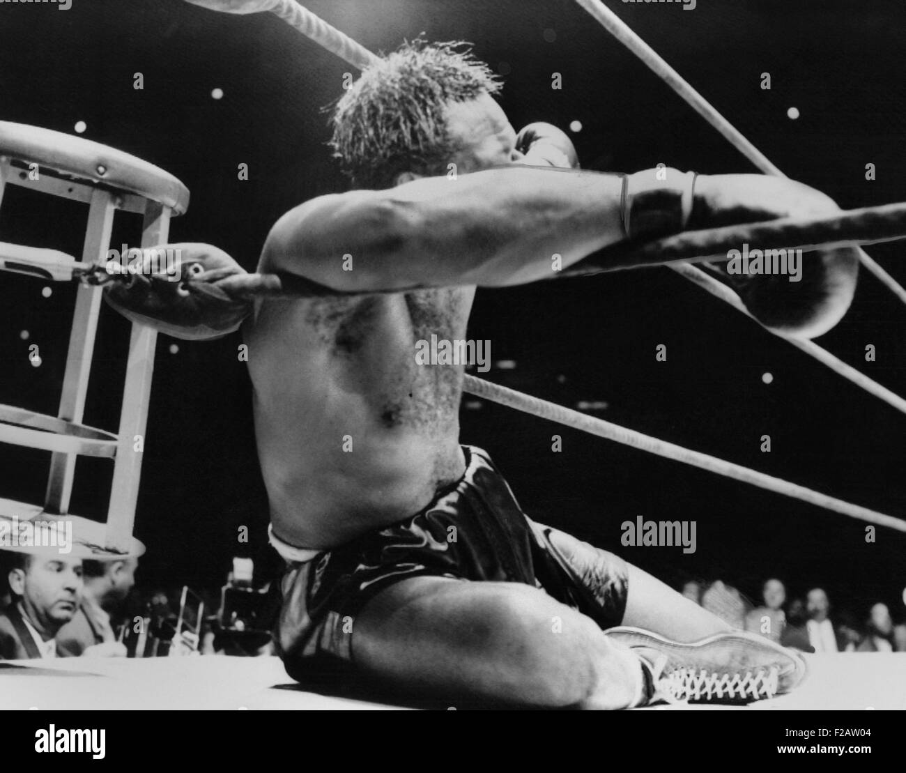 Archie Moore knocked out by Heavyweight Champion Rocky Marciano, Sept. 21, 1955. It was the 9th round of their title - Stock Image