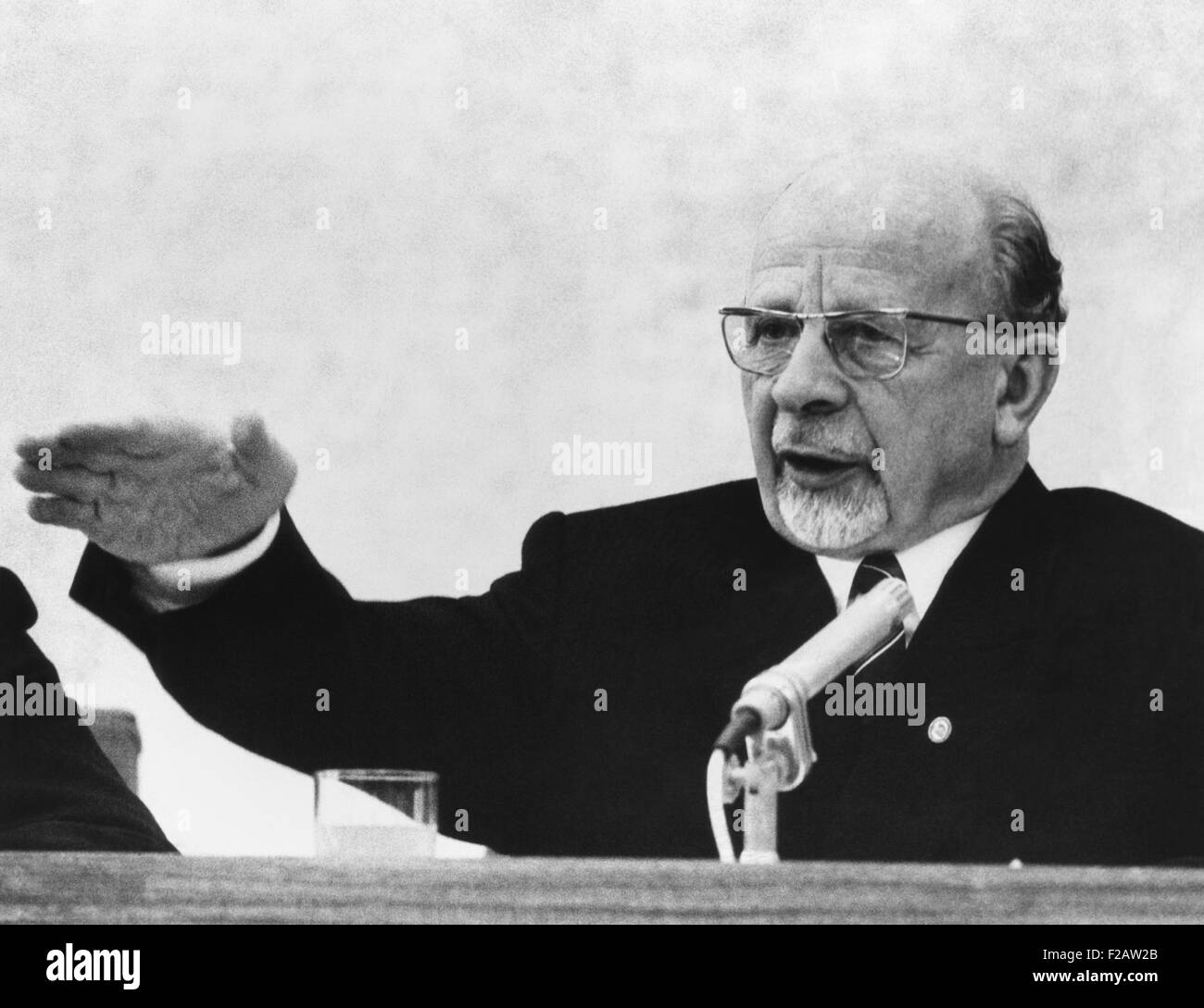 East German President Walter Ulbricht at news conference on January 19, 1970. He attacked West German Chancellor, - Stock Image