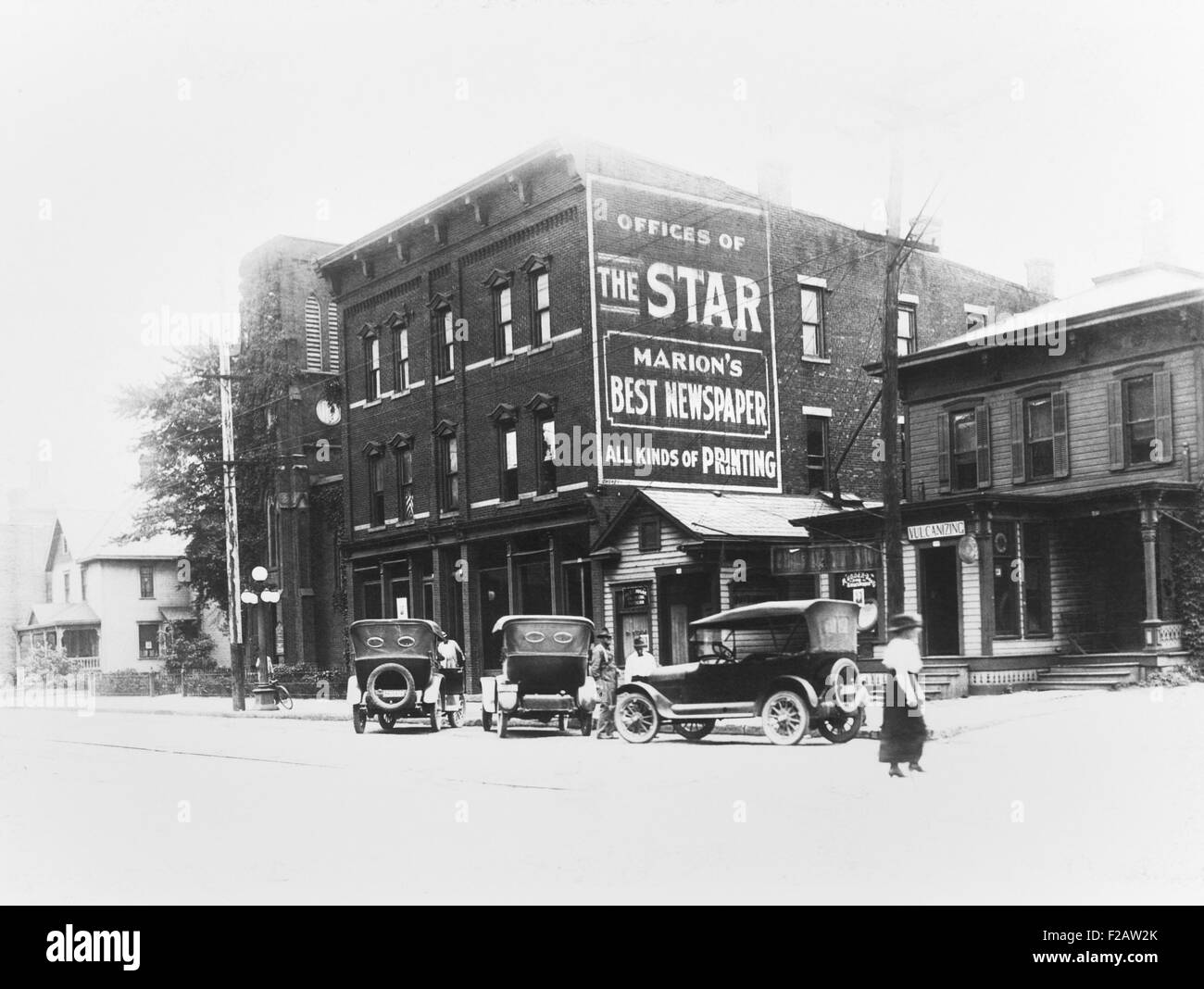Office of THE MARION STAR, Warren G. Harding's newspaper at Marion, Ohio. Ca. 1916. In 1884, 18 year old Harding - Stock Image