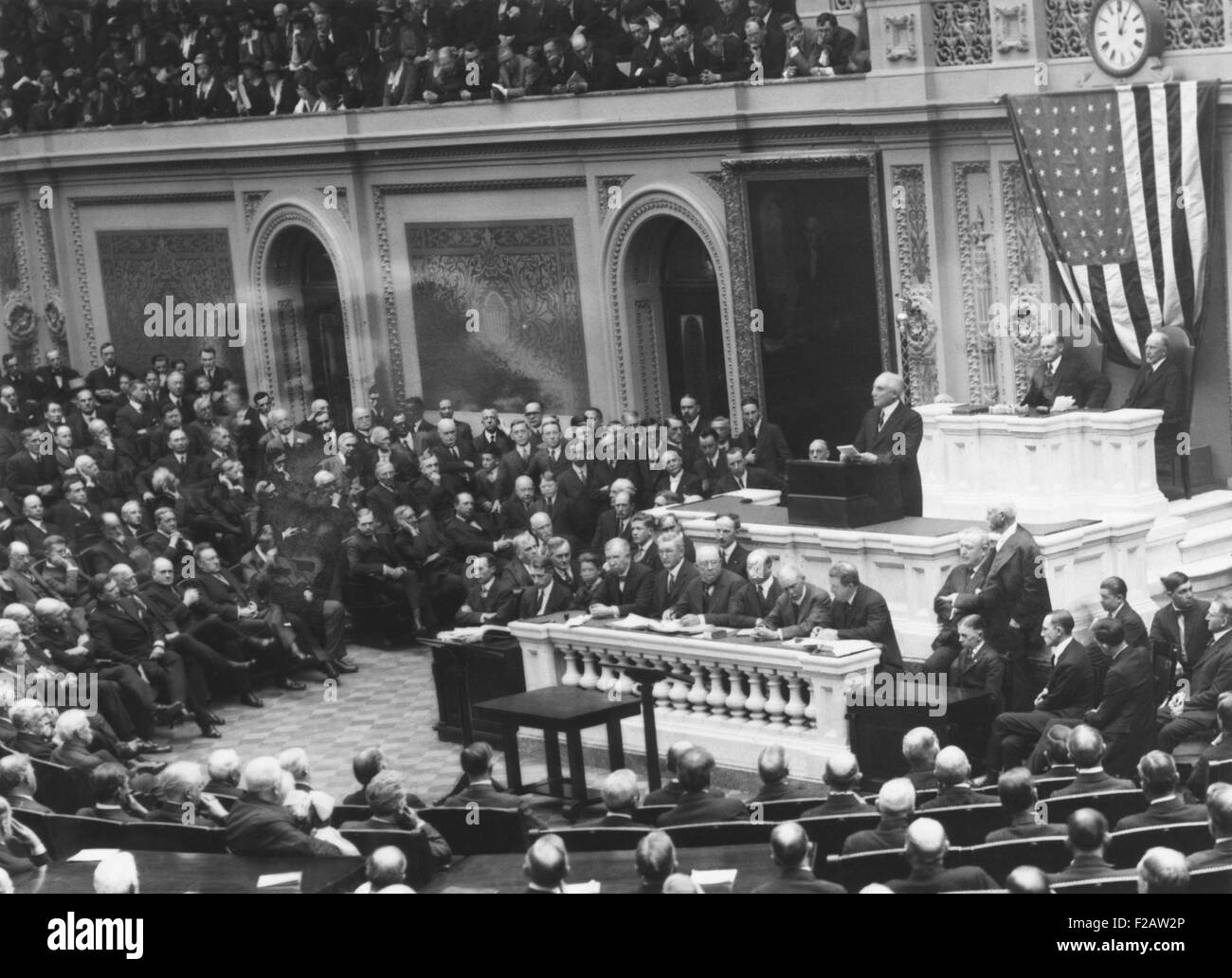 President Warren Harding before a Joint Session of Congress, April 12, 1921. He presented an outline of his administration's - Stock Image