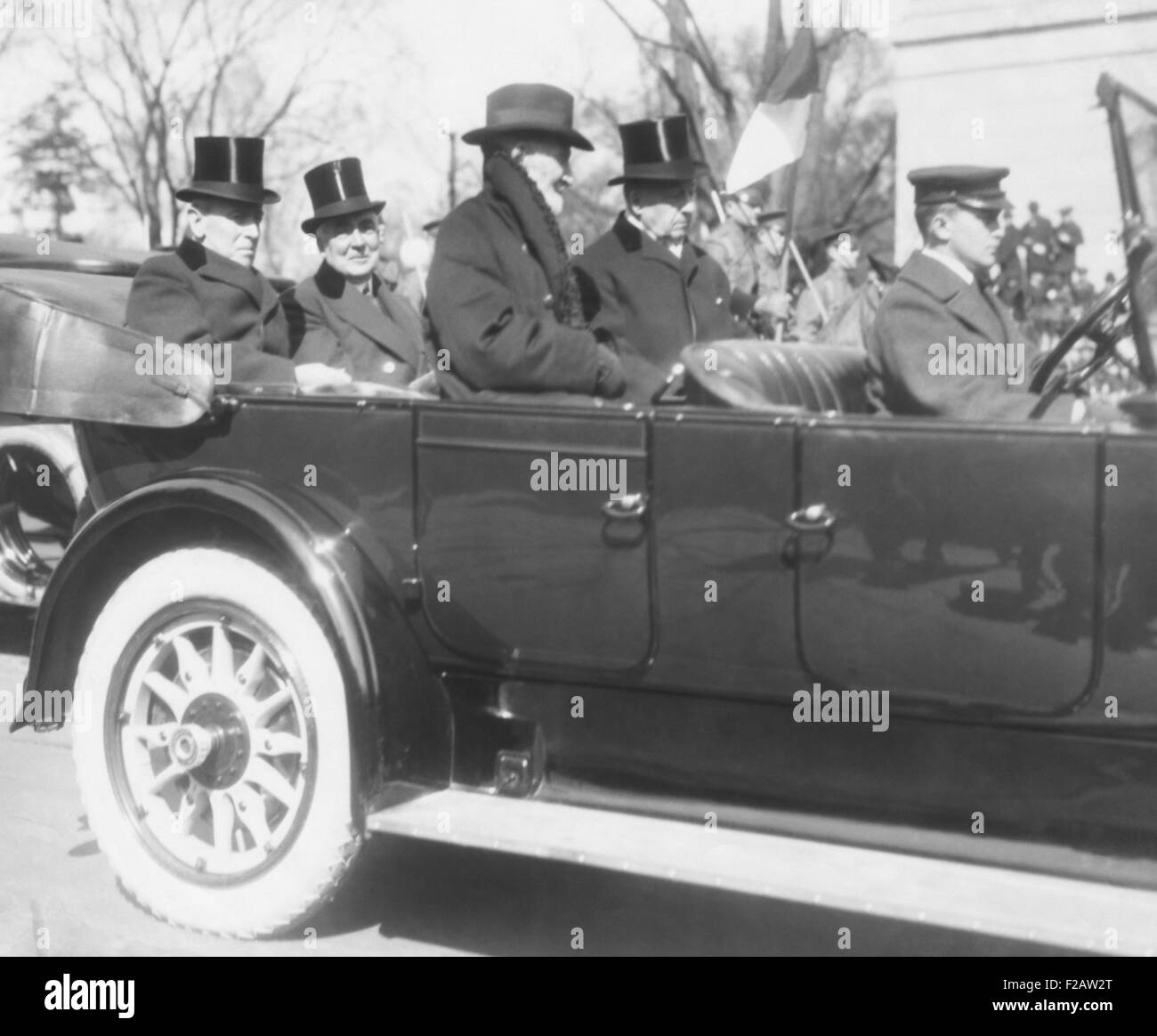 President Woodrow Wilson enroute to President-elect Warren Harding Inauguration's. March 4, 1921. In front are - Stock Image