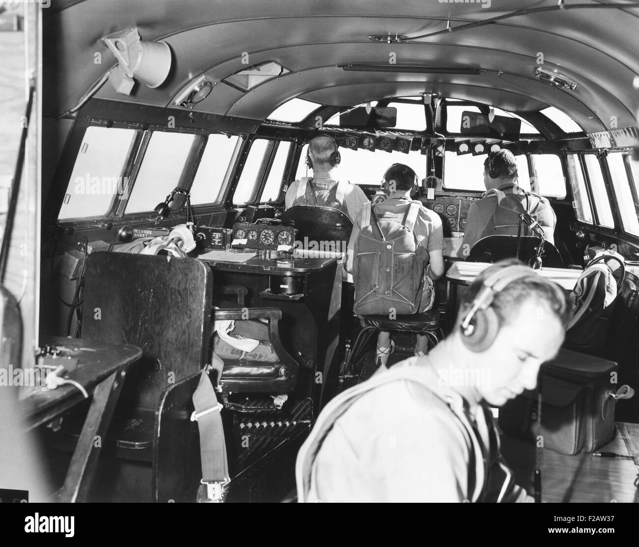 The bridge deck or cabin of the 82-ton Douglas B-19, the world's largest bomber. Nov. 13, 1941. With backs to - Stock Image