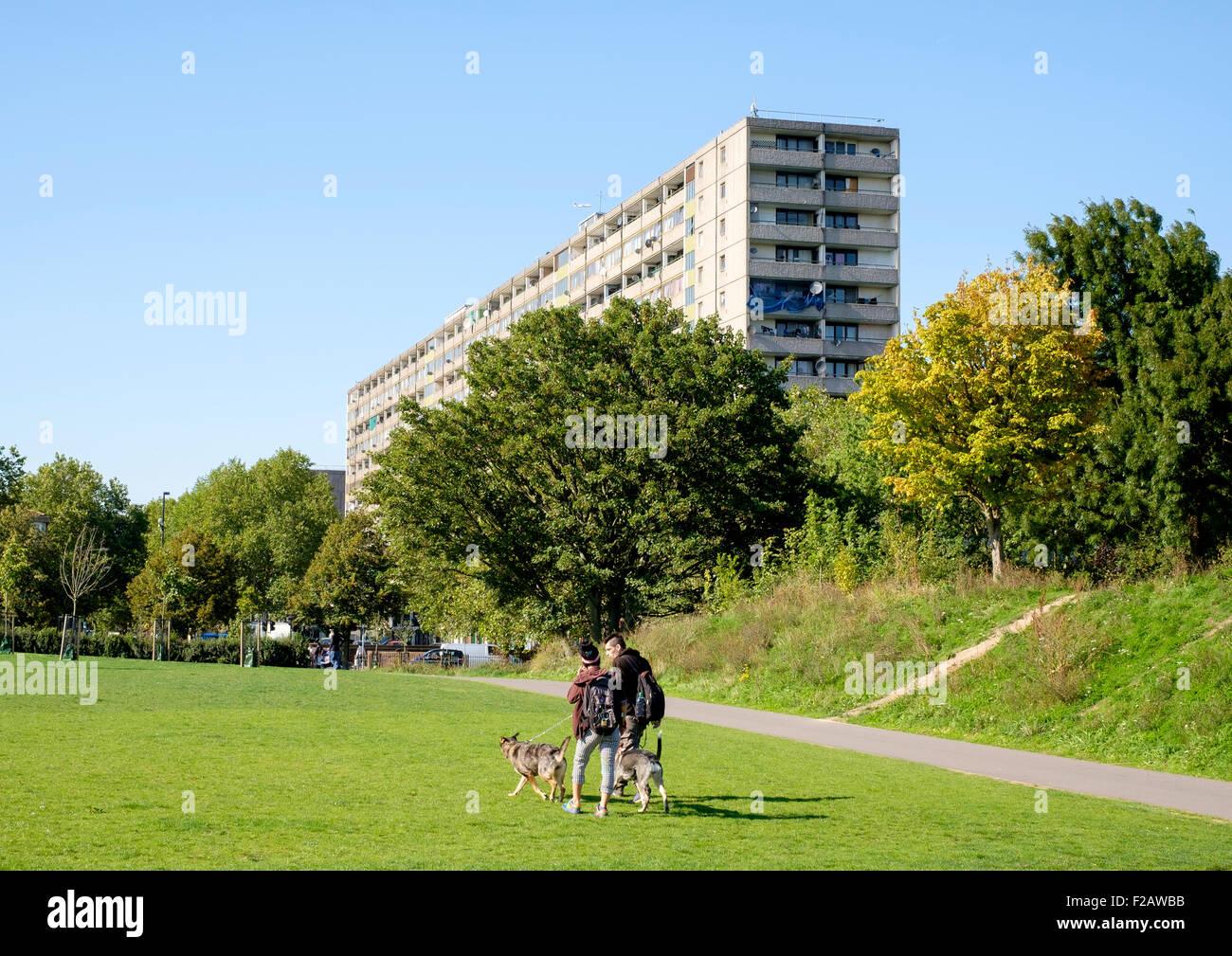 Walworth, London - 10 Sept 2015: In Burgess Park, South London, looking towards  Southwark's Aylesbury Estate - Stock Image