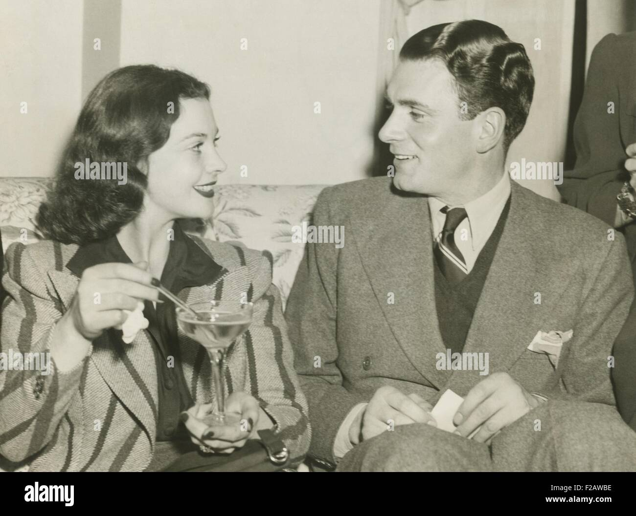 Vivien Leigh and Laurence Olivier in Atlanta, Georgia, Dec. 12, 1939. Vivien Leigh was there for the World Premiere - Stock Image