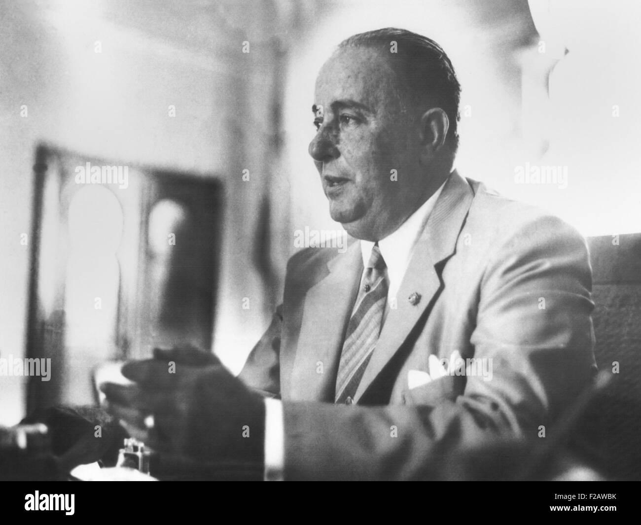 President Anastasio Somoza was shot on Sept. 21, 1956 by the poet Rigoberto Lopez Porez. He died several days later - Stock Image
