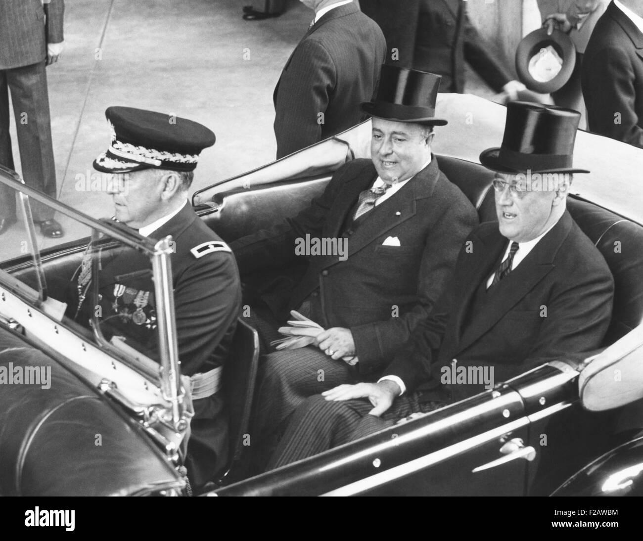 President Franklin Roosevelt with President Anastasio Somoza of Nicaragua. Washington, D.C. May 5, 1939. (CSU_2015 - Stock Image