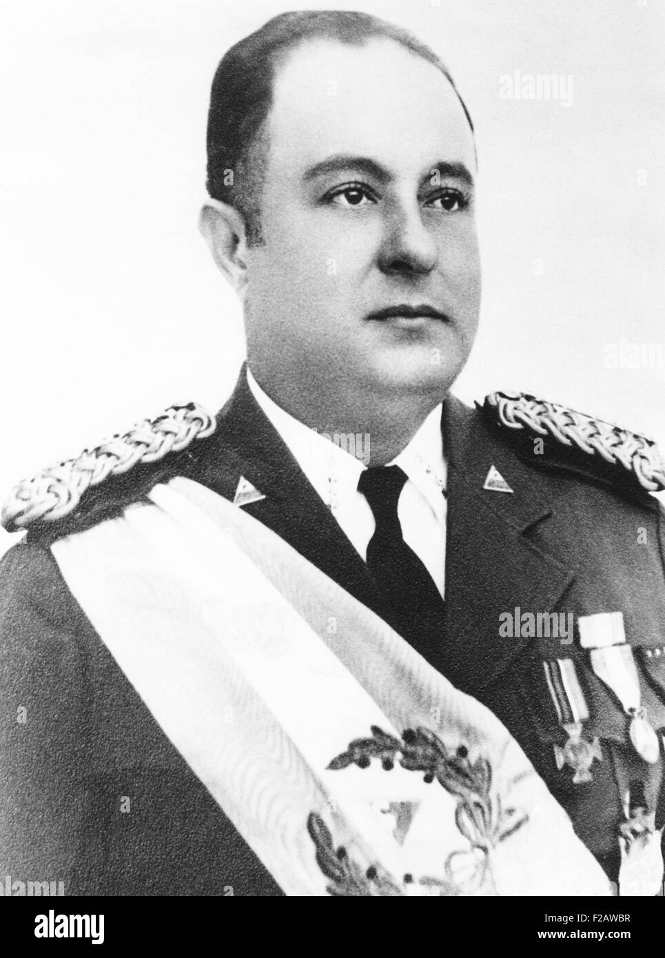 President Anastasia Somoza of Nicaragua in his Presidential regalia in 1939. When the U.S. Marines disengaged from - Stock Image
