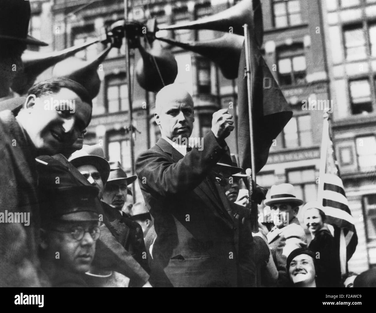Socialist Norman Thomas (center) speaking in New York's Union Square on May Day 1931. (CSU_2015_11_1412) - Stock Image