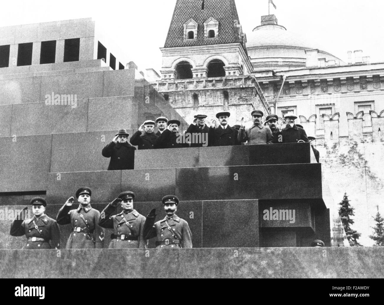 Soviet leaders on Lenin's tomb during for the 19th Anniversary of the October Revolution. Moscow, Nov. 17, 1936. - Stock Image