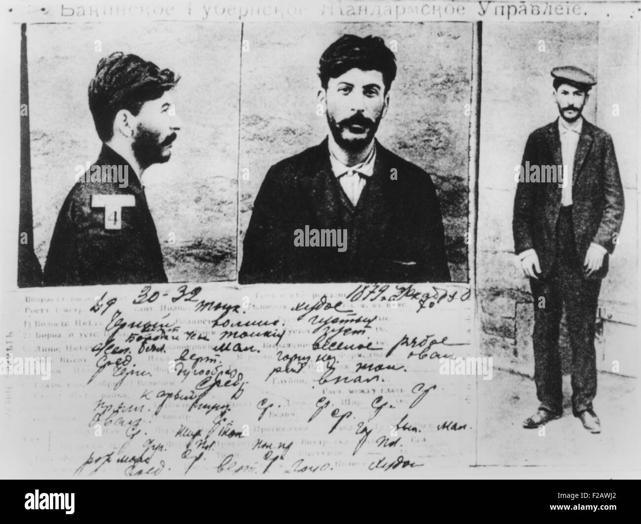 Josef Stalin's registration card of Political Police Administration of the Province of Baku, Russia. Ca. 1910. - Stock Image