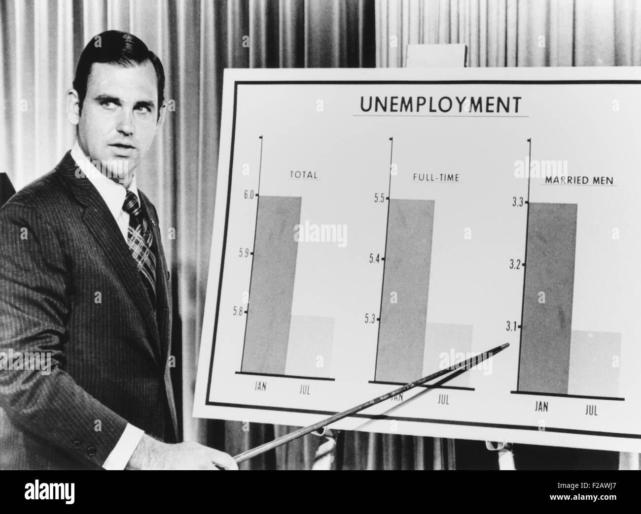 Pres. Richard Nixon's Press Secretary, Ronald Ziegler, briefs newsmen on unemployment. The Labor Department - Stock Image