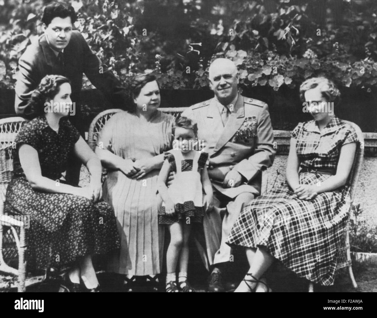 Russian World War II hero Marshall Zhukov with his family. Zhukov, the Soviet Minister of Defense, shared the photo - Stock Image