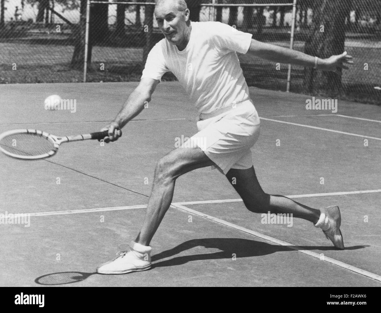 Bill Tilden, former Tennis Champion, at 58 years at Lakewood Park, Ohio. June 1951. He was practicing for the Pro - Stock Image