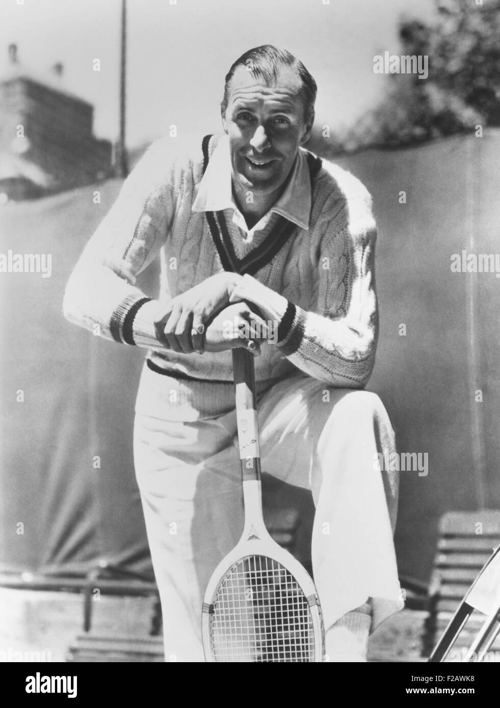 Bill Tilden, former Tennis Champion, ca. 1940. As he phased out of competitive play, he coached and gave private - Stock Image