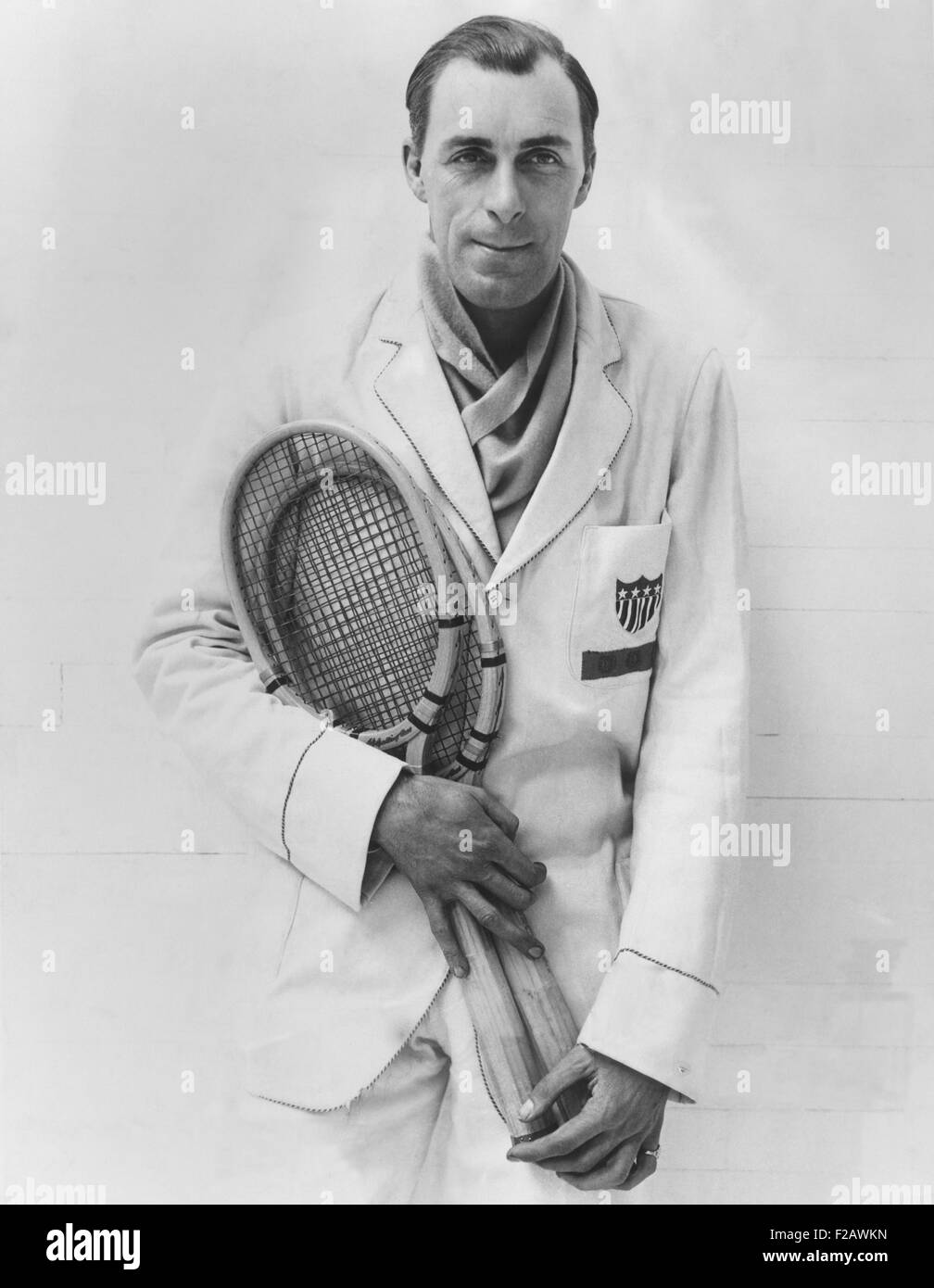 Bill Tilden after his first match since reinstatement as an amateur by the ALTA. At Heights Casino in Brooklyn, - Stock Image