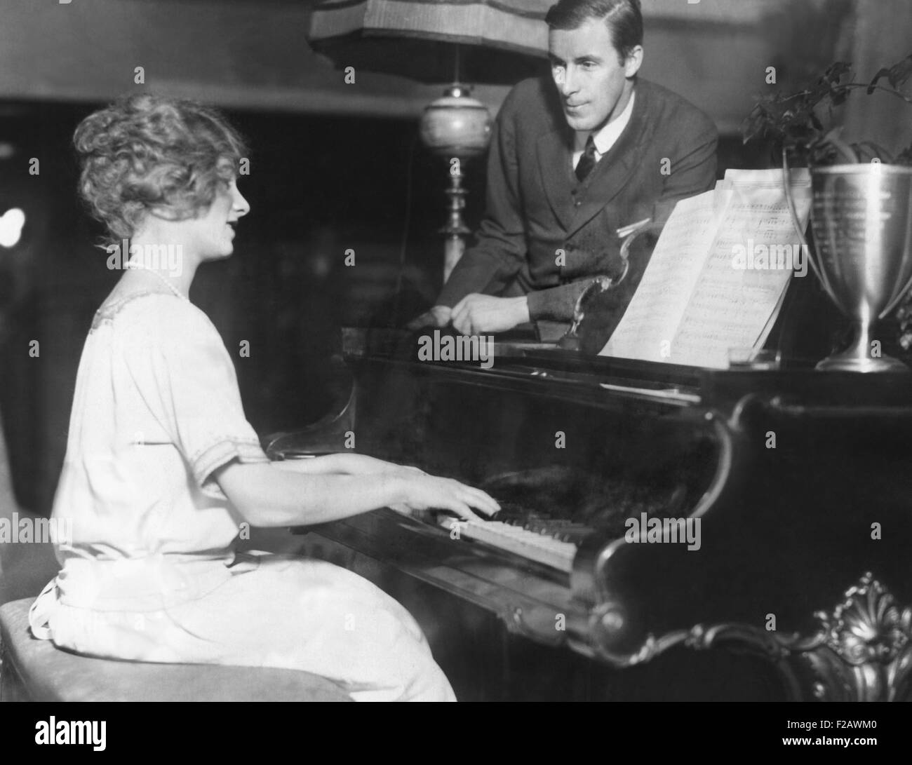 Bill Tilden rehearsing with his leading lady, Sandy Weiner, for a charity play in Philadelphia. Jan. 15, 1923. The - Stock Image