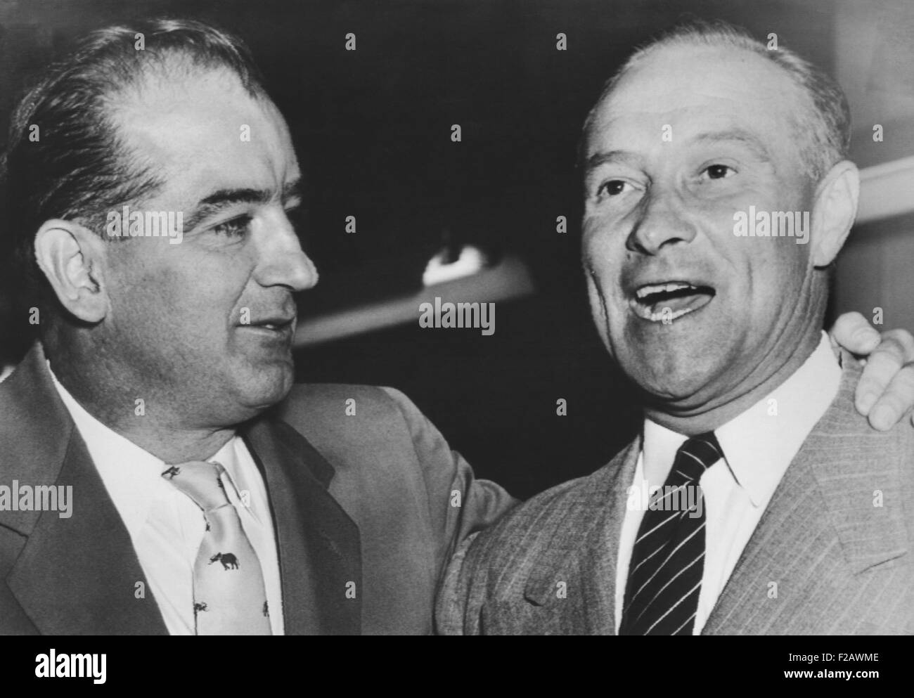 Sen. Joseph McCarthy campaigning with Sen. William Jenner of Indiana. Oct. 21, 1952. Jenner, was a follower of McCarthy - Stock Image
