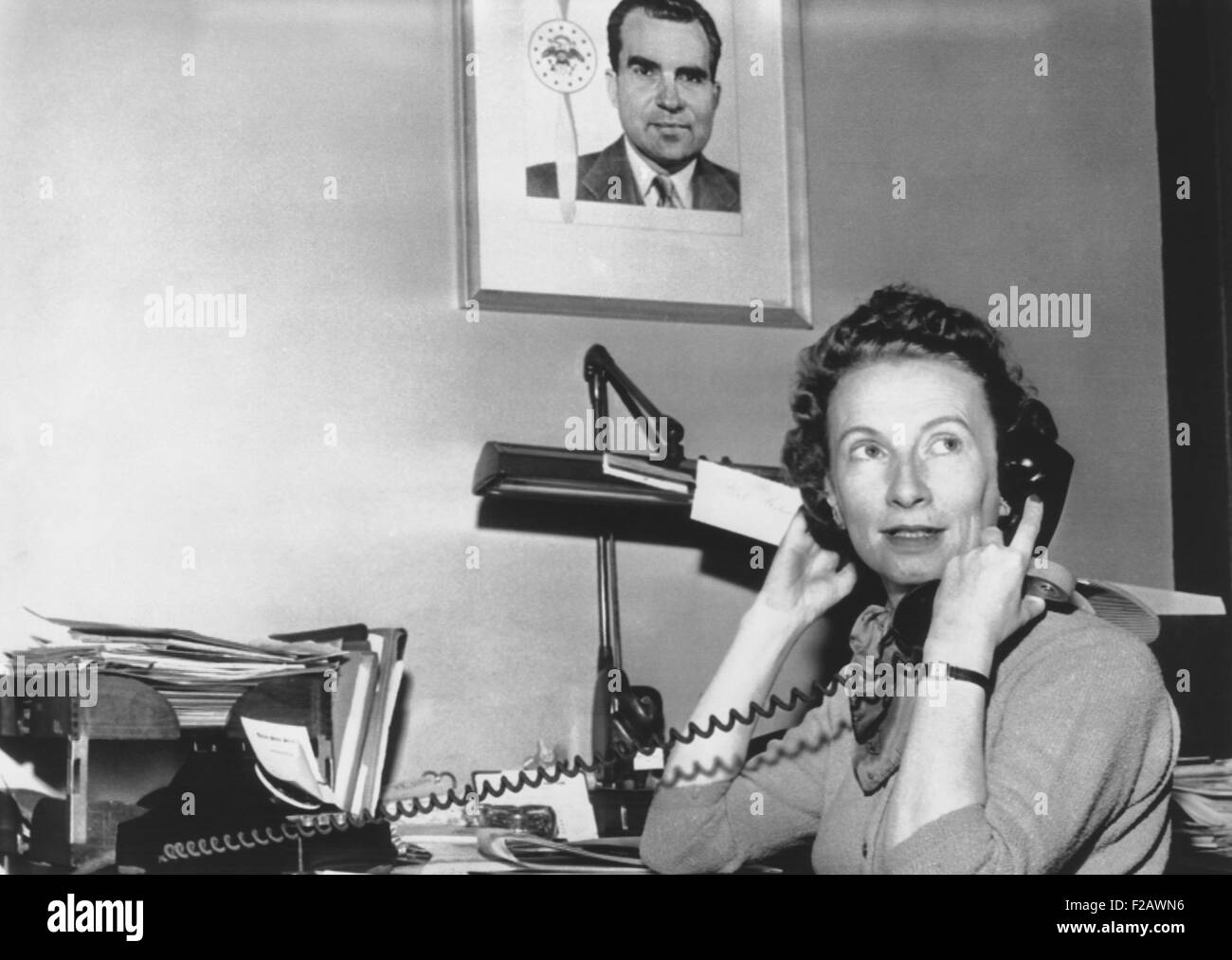 Rosemary Woods, when she was personal secretary to Vice President Richard Nixon. Oct. 12, 1955. She worked for Nixon - Stock Image