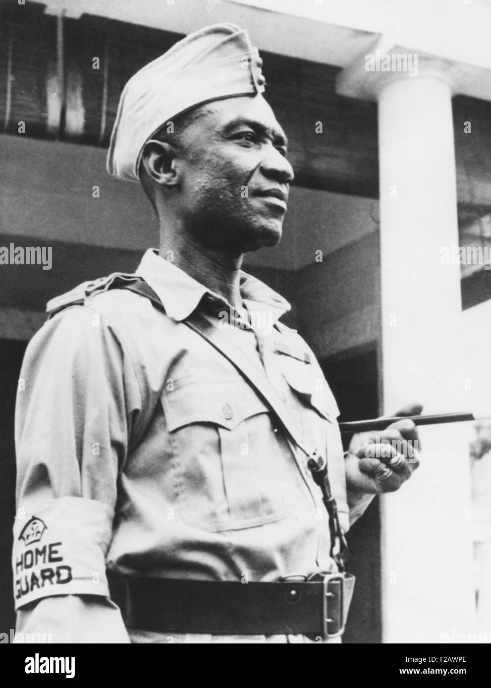 Sir Osei Agyeman, Premph II, an Ashante chief, helped build the British West Africa militia. He wore the uniform - Stock Image