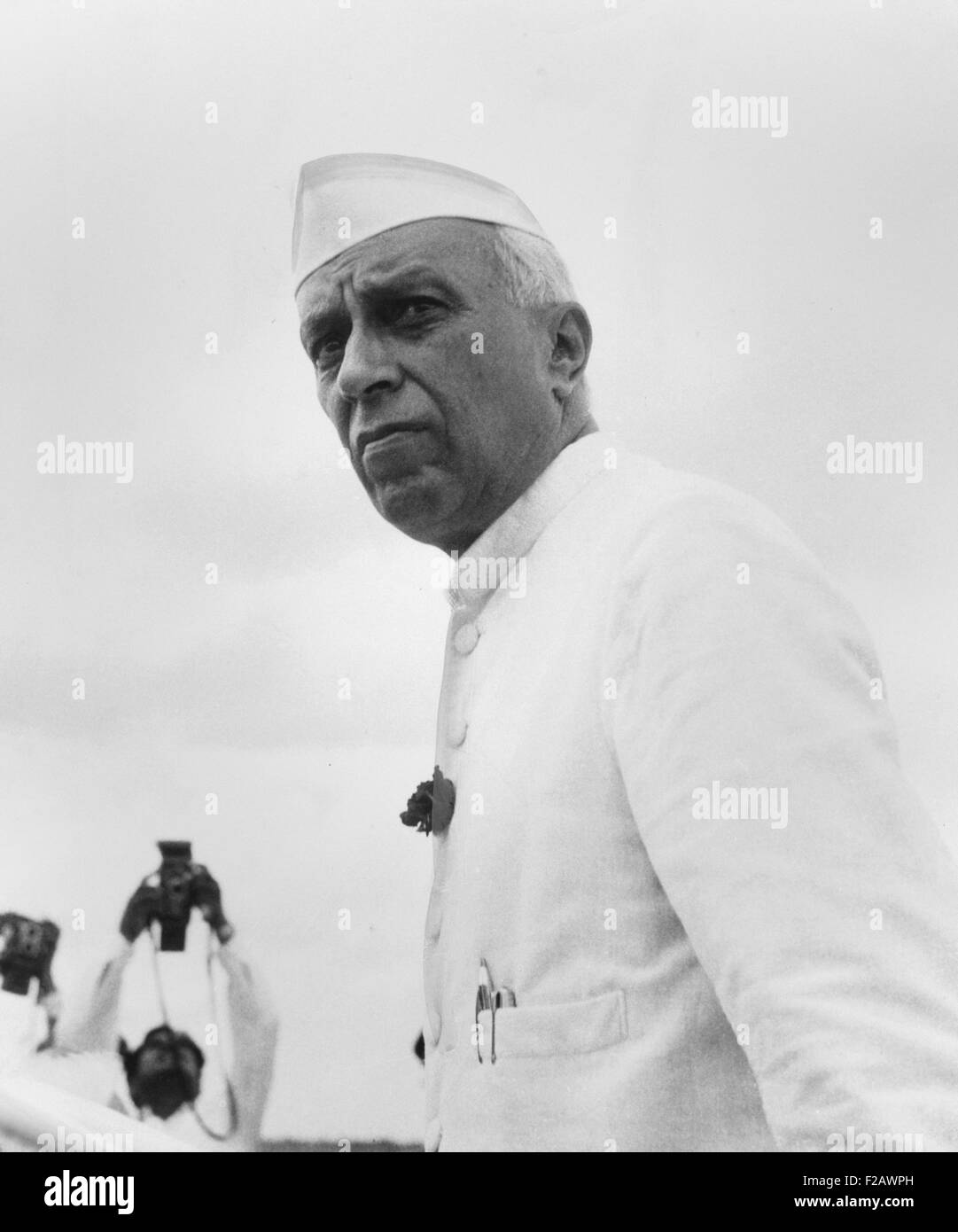 India's Prime Minister Jawaharlal Nehru, ca. Jan. 1955. Actor Roshan Seth portrayed Nehru in GANDHI, the 1982 - Stock Image