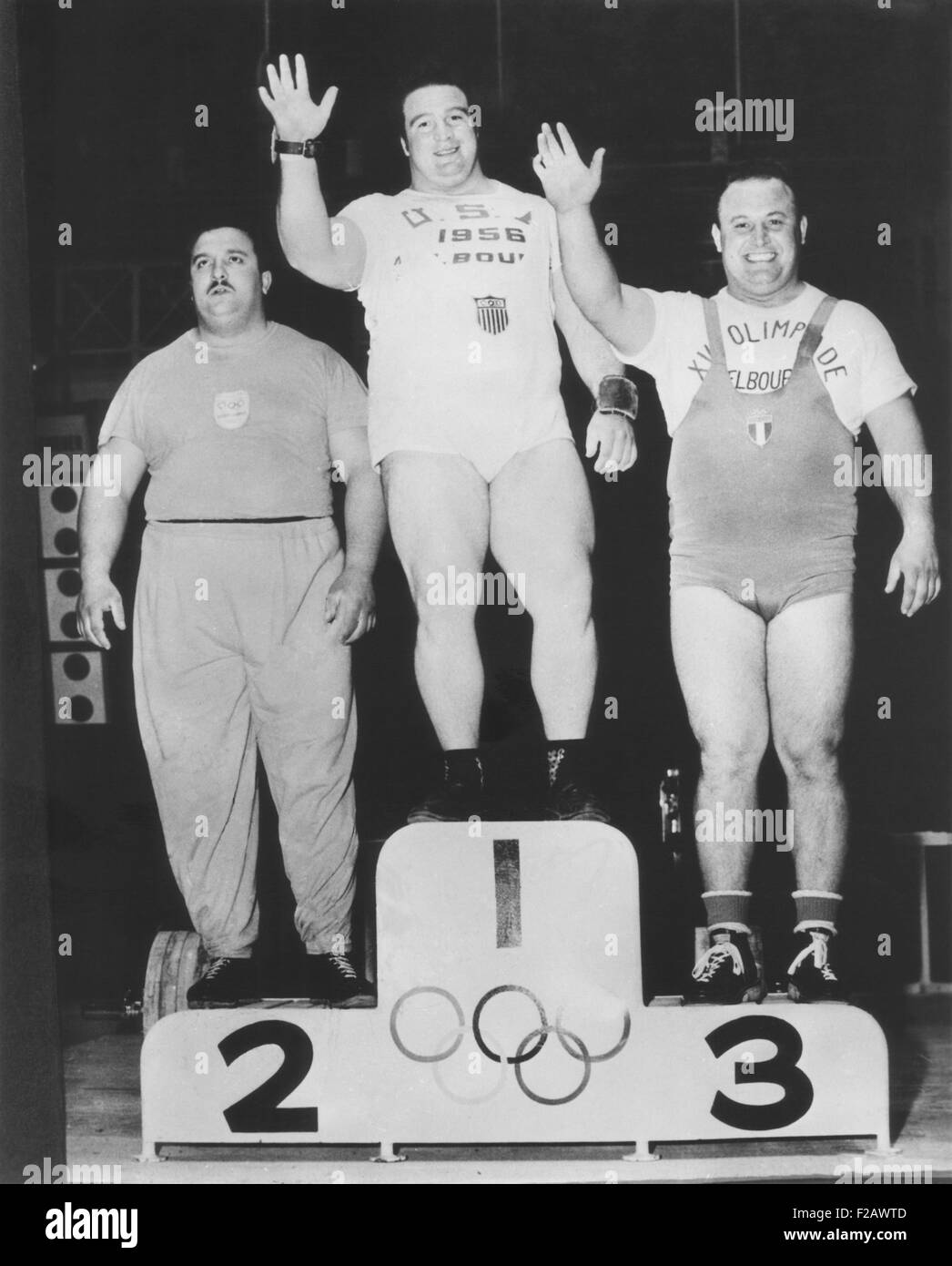 Paul Anderson (center) won a Olympic Gold Medal in heavyweight weightlifting. Melbourne, Australia Games, Nov. 26, - Stock Image