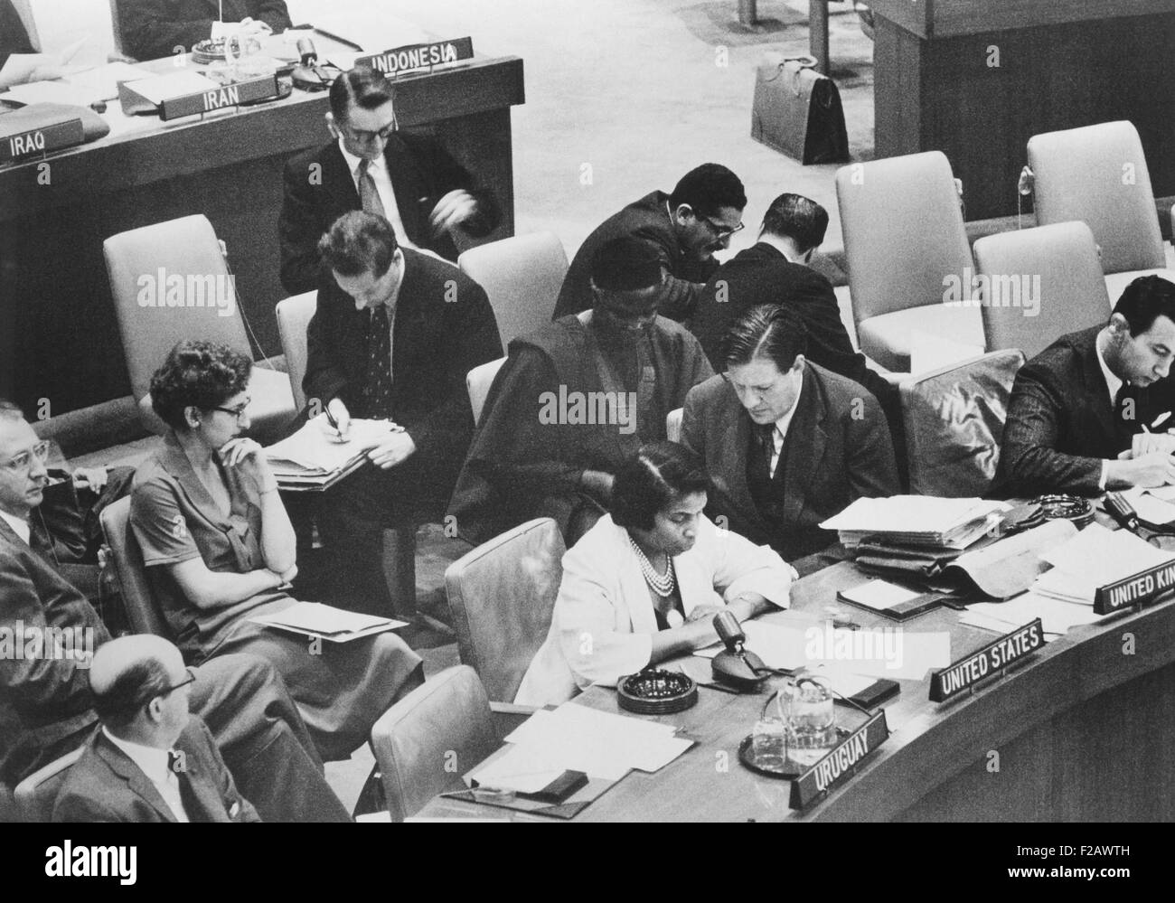 Marian Anderson, African American opera singer, as a delegate at the United Nations. She served on the UN Human - Stock Image