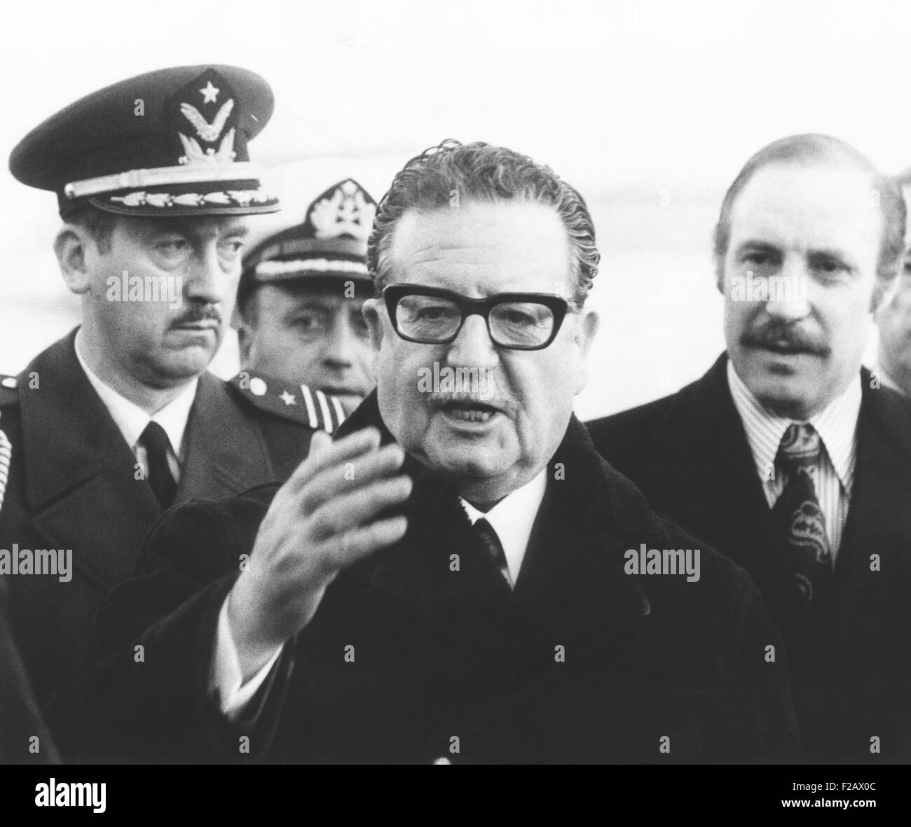 Chile's president Salvador Allende in New York to address the United Nations, Dec, 3, 1972. From NYC he would - Stock Image