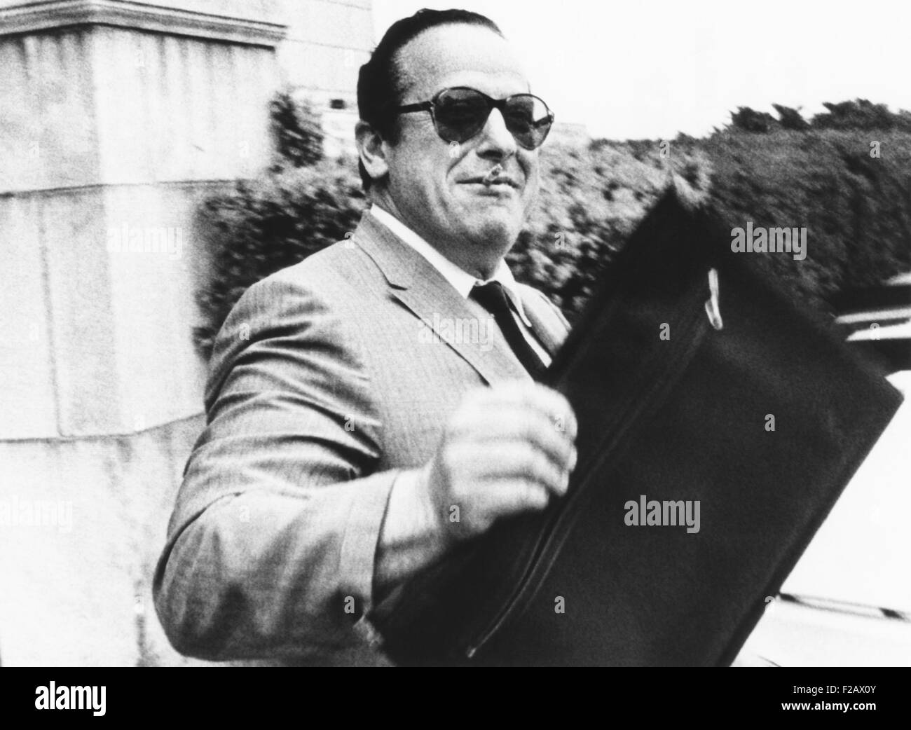 Anthony (Tony Dale) Agnellino, alleged Mafia figure from Long Branch, New Jersey. July 10, 1969. He tried to cover - Stock Image