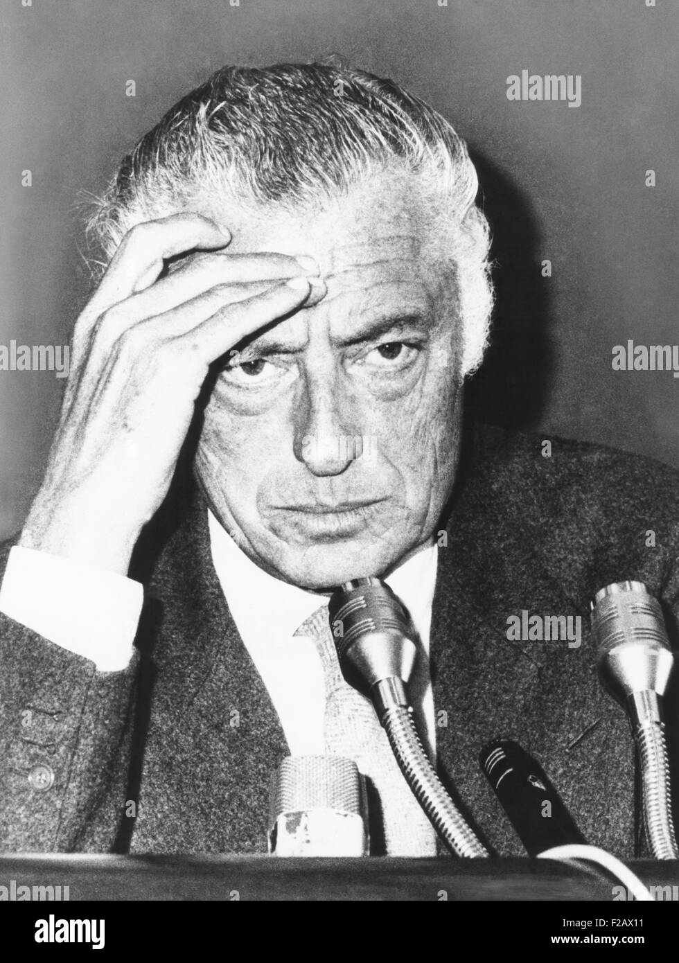 Giovanni Agnelli, President of the Fiat Auto Company, at a Rome press conference, Oct. 14, 1975. Agnelli reported - Stock Image