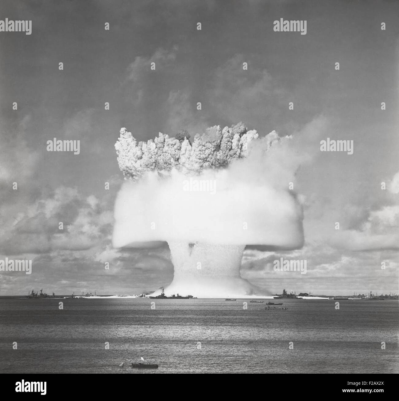 The BAKER test of Operation Crossroads, July 25, 1946. 2 seconds after the underwater detonation, the 'birthday - Stock Image