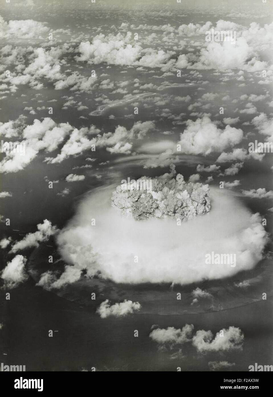 The BAKER test of Operation Crossroads, July 25, 1946. BAKER was exploded underwater, creating an underwater pressure - Stock Image