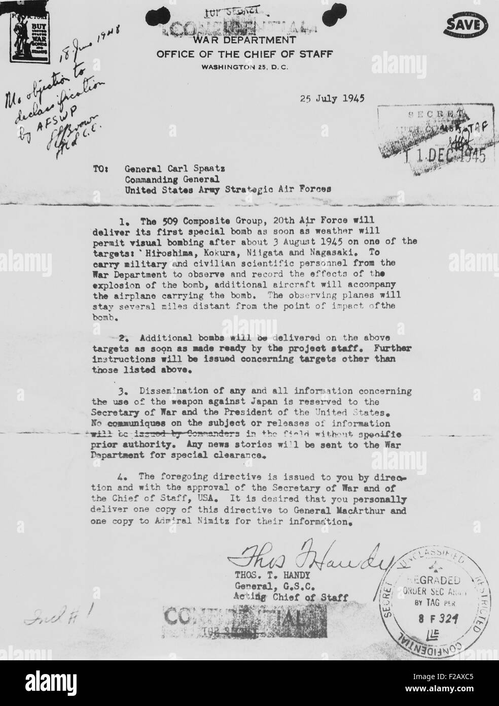 World War 2 letter received from General Thomas Handy to General Carl Spaatz authorizing the dropping of the first - Stock Image