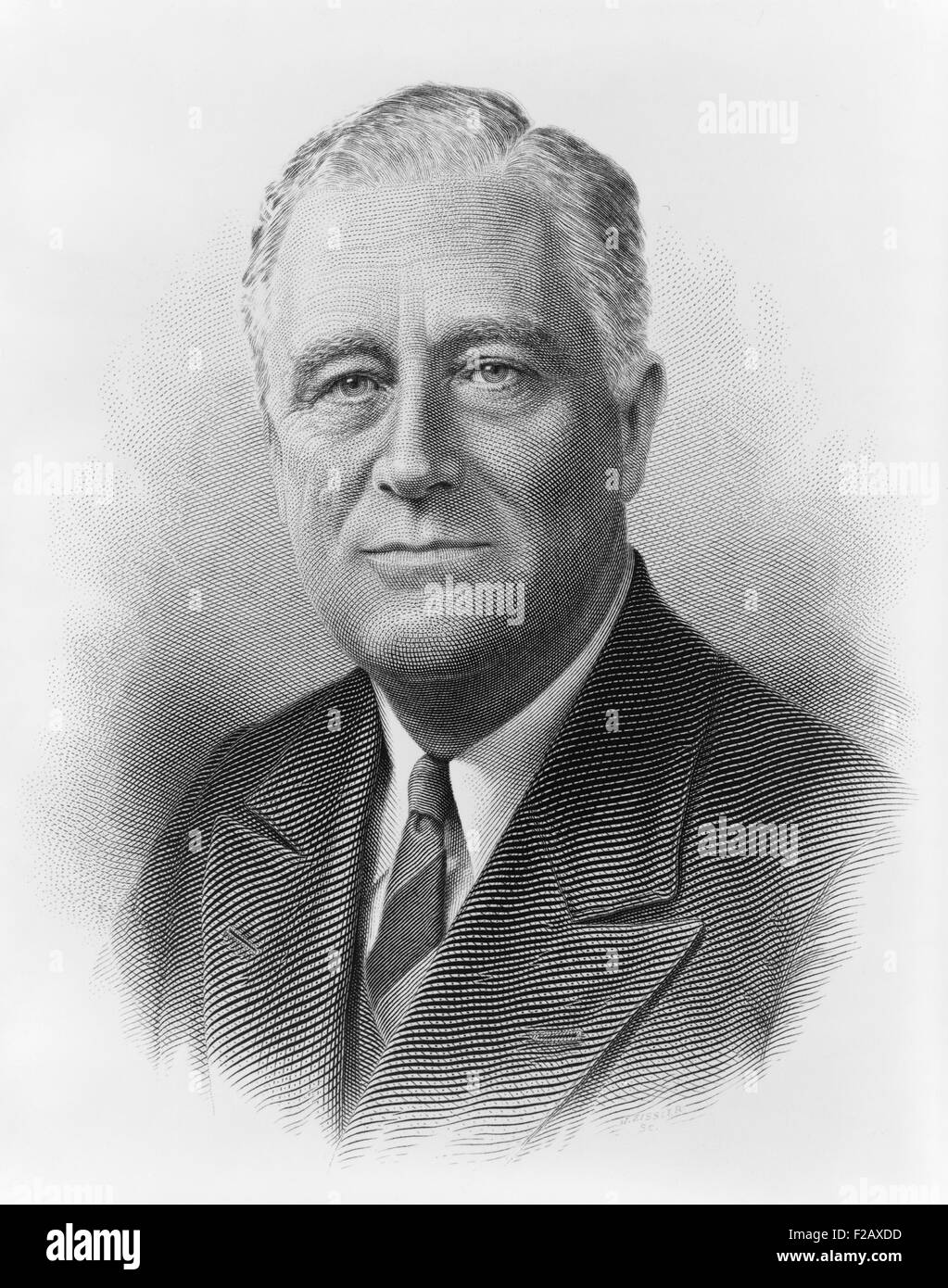 President Franklin Roosevelt in a engraved portrait by the Bureau of Printing and Engraving. Ca. 1932-1940. (BSLOC - Stock Image