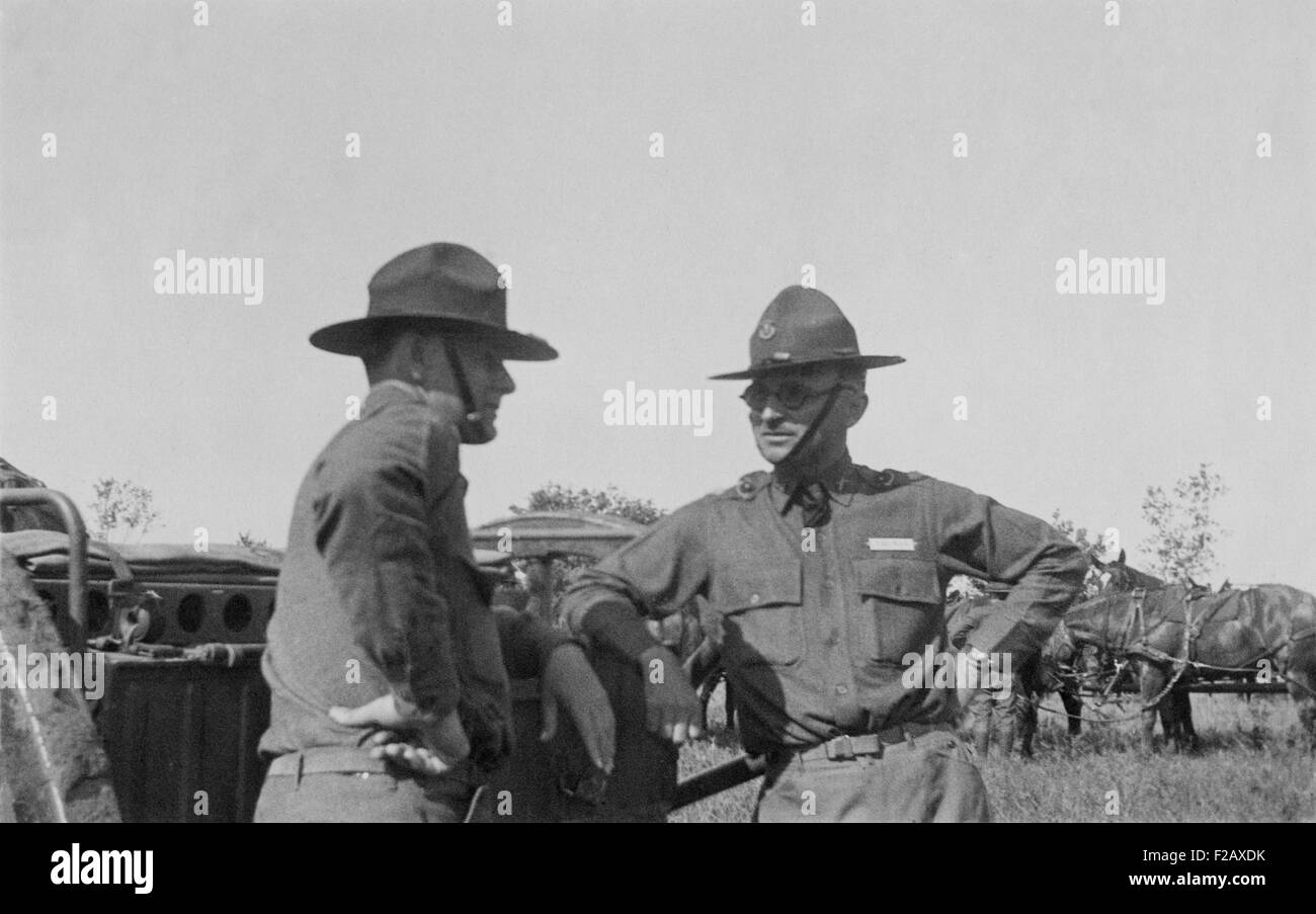 Harry Truman at Fort Riley, Kansas in July 1926. Truman served as a Field Artillery officer during World War I, - Stock Image