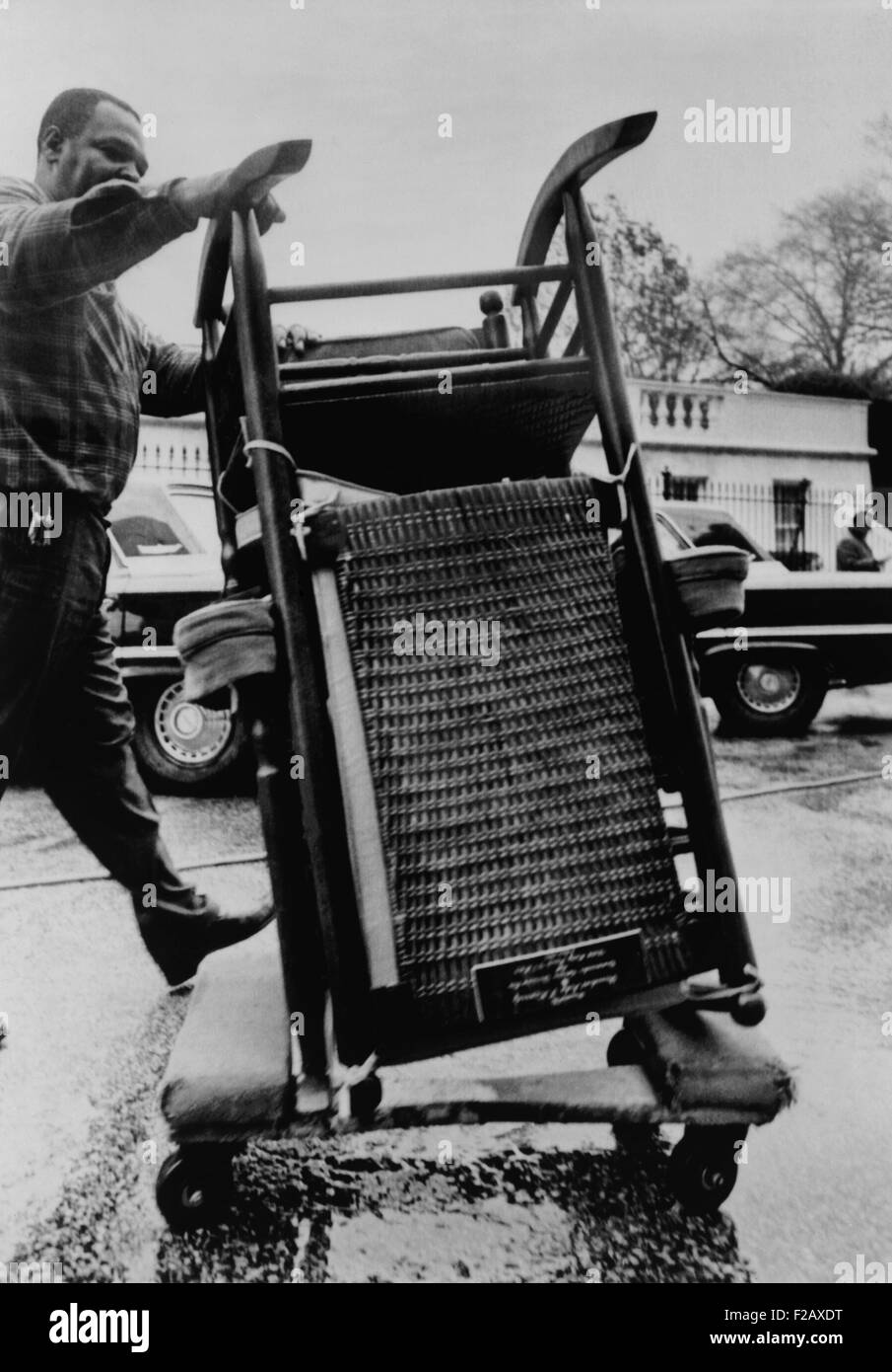 President Kennedy's rocking chair moved from the White House on Nov. 23, 1963. On the day after his assassination, - Stock Image