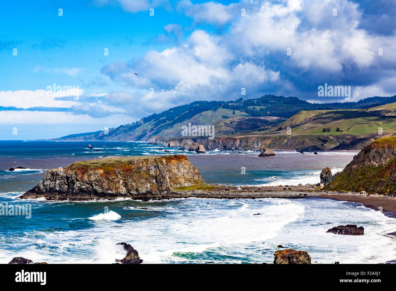 Goat Rock State beach and the outflow of the Russian River  part of the Sonoma Coast State Park Stock Photo